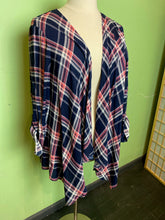 Load image into Gallery viewer, Red and Blue Plaid Torrid Duster, Size 2