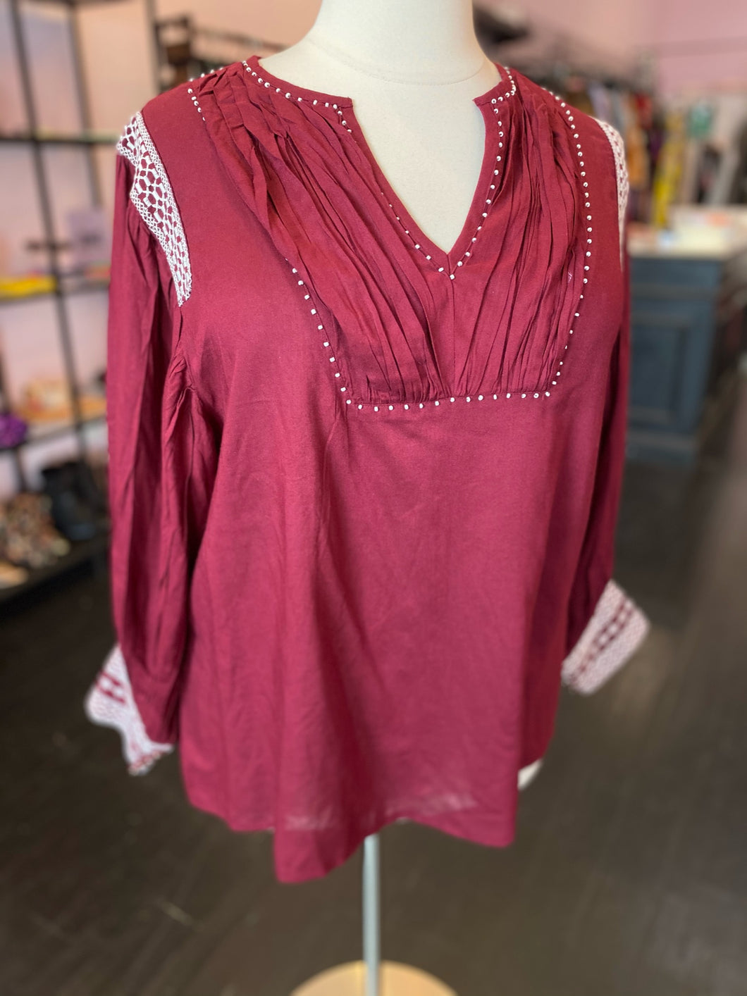 Boho Maroon Tunic with White Detailing, Girl Soul 1X