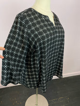 Load image into Gallery viewer, Black Long Sleeve Tunic with White Geometric Pattern by DR2, Size 2X