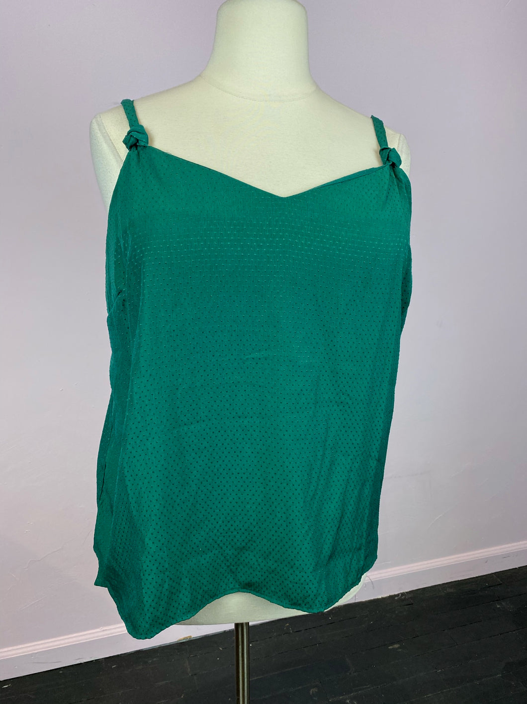 Kelly Green Swiss Polka Dot Print Tank by Old Navy, Size 2X