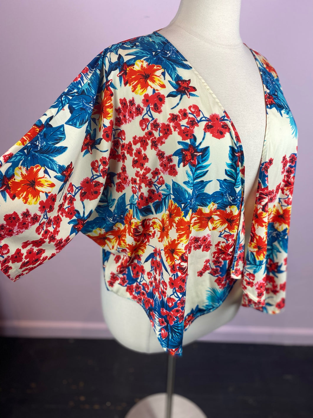 Tropical Floral Print Open Front Cardigan, Label Be 1X
