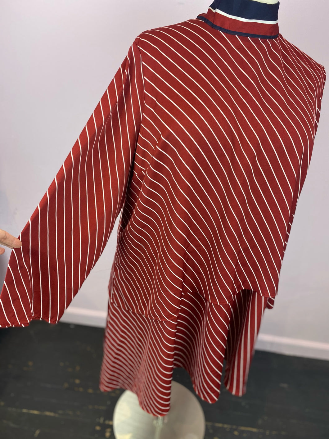 Red and White Diagonal Striped Shift Dress with Navy and Red Ascot Detail by Who What Wear, Size 3X