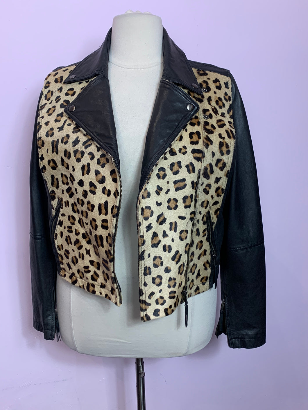 Leopard Print Cropped Leather Jacket, ASOS US 14