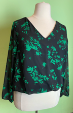 Load image into Gallery viewer, Bold Green and Black Floral Top