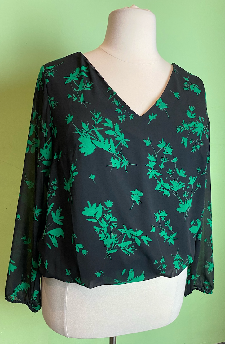 Bold Green and Black Floral Top