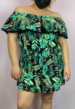 Load image into Gallery viewer, Black with Green Palm Leaves Print Strapless Romper by Derek Heart, Size 3X