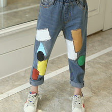 Load image into Gallery viewer, Printed Denim Patched Jeans