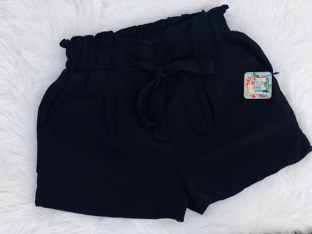 Tie-Front High Waist Black Woven Shorts