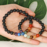 7 chakra guarigione bracciali in pietra naturale e stone washing