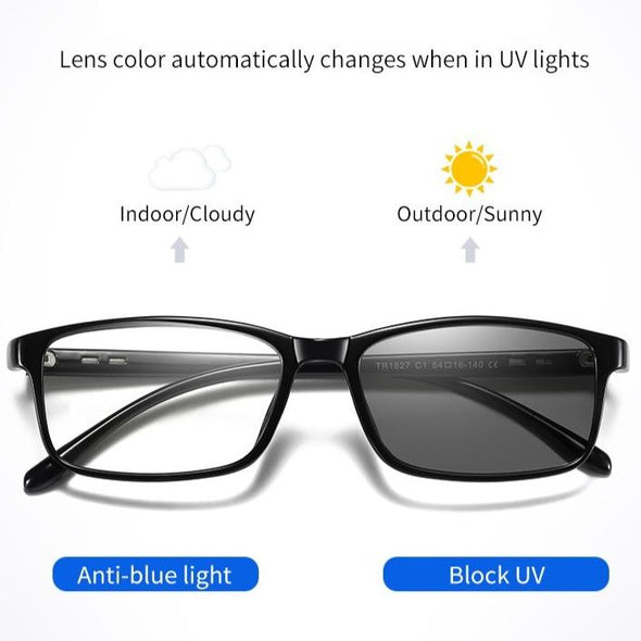 Lens color changes automaticlly and insantly blue light glasses No1827
