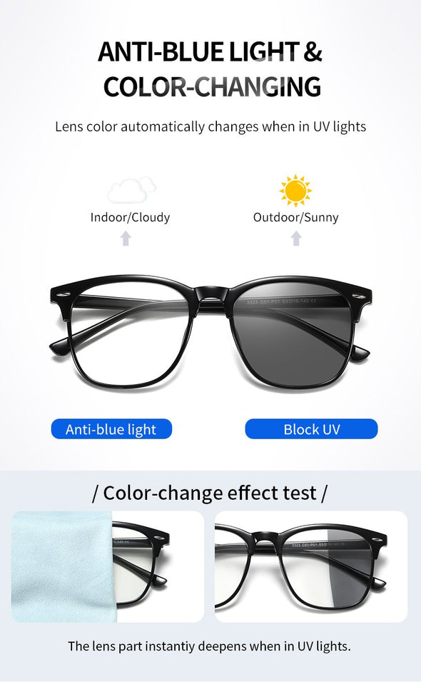 Lens color changes automaticlly and insantly blue light glasses