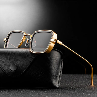 Men's Vintage Steampunk Retro Metal Square Sunglasses