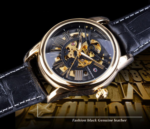 FS1069 - Leather Roman Modern Design Automatic Skeleton Watch