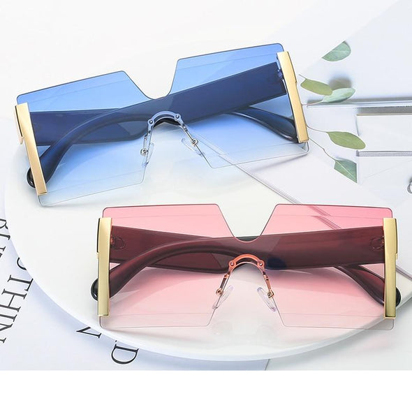 Macarons!Fashion Oversized Rimless Sunglasses