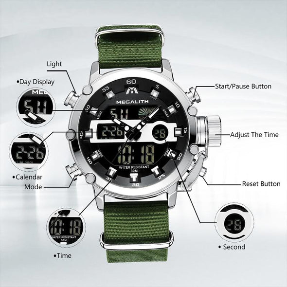 MEGA - Dual Display Sport Waterproof Quartz Watch
