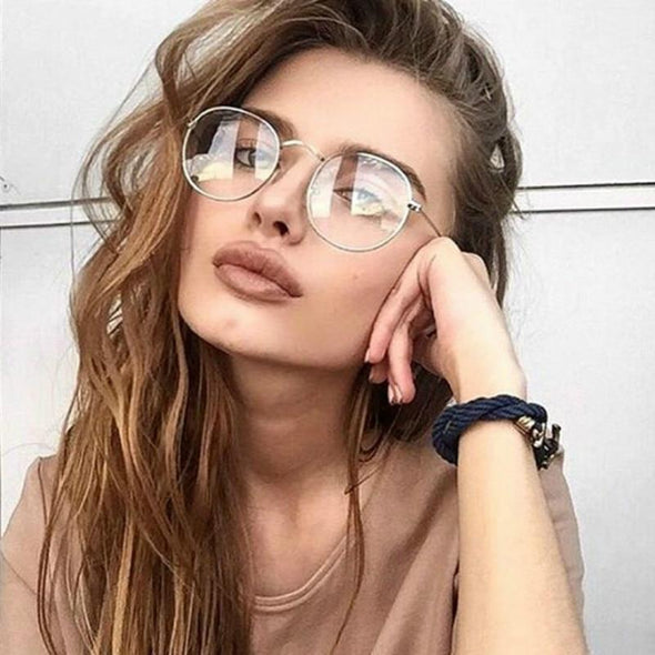 Woman Glasses Optical Frames Metal Round Glasses Frame Clear lens Eyeware