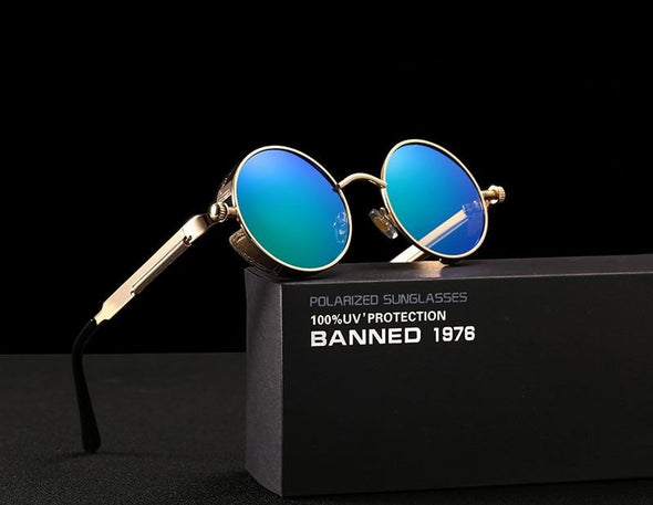 Men's Retro Round Metal HD Polarized Punk Steampunk Sunglasses