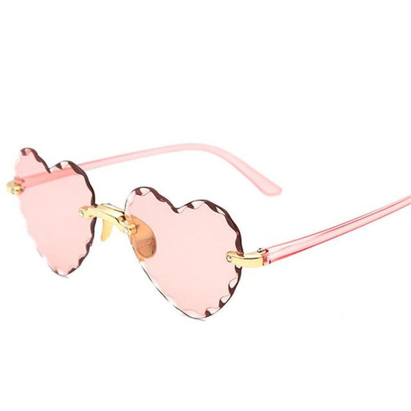 Rimless Fashion Heart shaped Sun Glasses 2021