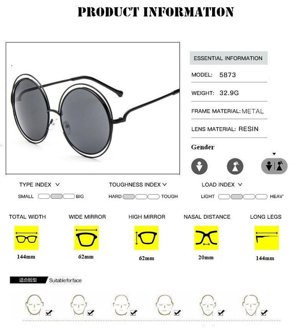 2020 Round Big Size Oversized lens Vintage Sunglasses
