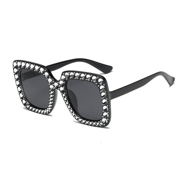 Mirror Square Polarized Oversized Sunglasses Diamond Glasses