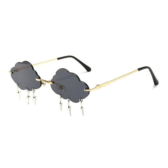 SHAUNA Ins Popular Rimless Sunglasses Women Clouds Lightning Tassel Sun Glasses Candy Colors Shades UV400