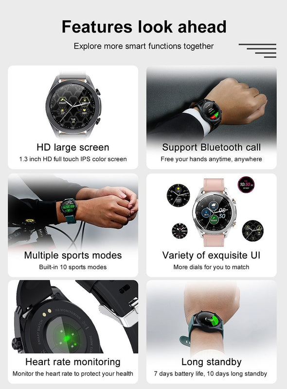 Jollynova  - i12 Bluetooth Call Heart Rate Multiple Sports Mode Waterproof Smartwatch