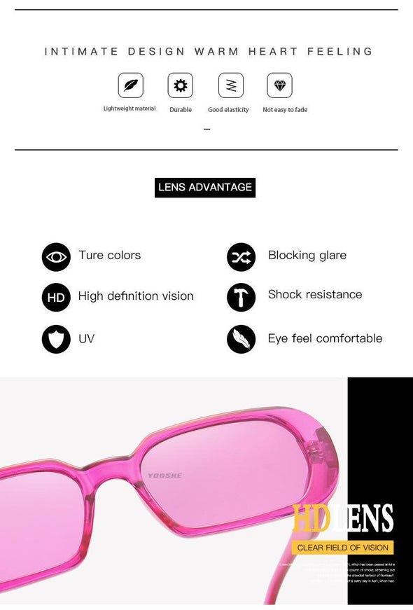 YOOSKE Brand Small Sunglasses Women Fashion Oval Sun Glasses Men Vintage Green Red Eyewear Ladies Traveling Style UV400 Goggles