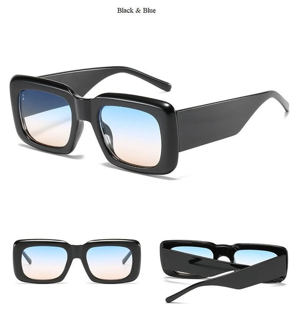 Retro Wide Leg Square Blue Black Sunglasses For Women Luxury Brand Gradient Sun Glasses Men Hip Hop Uv400 Eyewear Female Sahdes