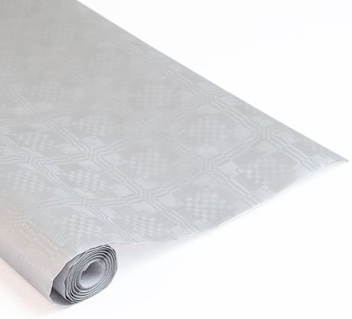 8mtrs Metallic Silver Disposable Paper Banqueting Roll