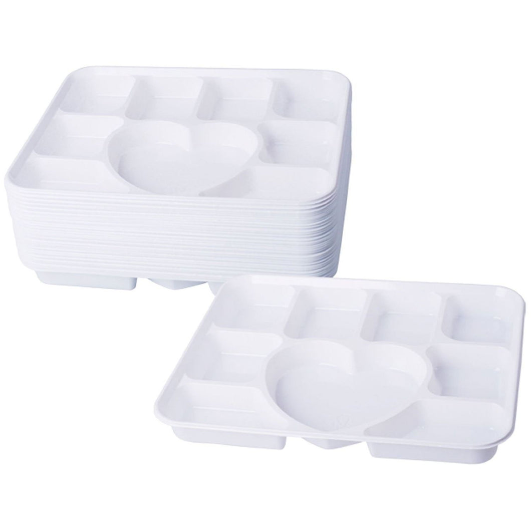 25 x Disposable Rectangular 9-Compartment Heart Plate Food Tray AD11