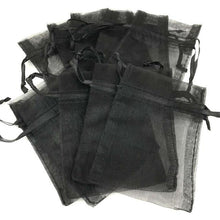 "Load image into Gallery viewer, 4"" x 5"" Black Organza Favour Bags (Pack of 10)"