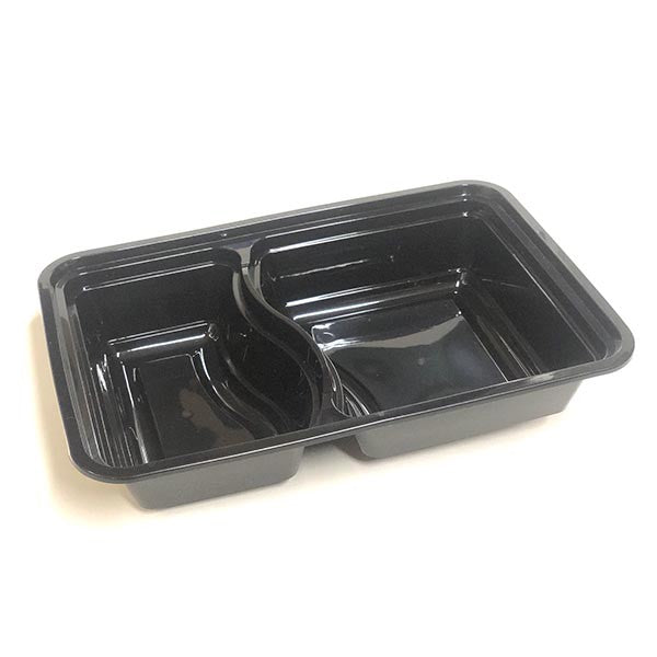2-Compartment Rectangle Black Base Containers with Lids (Pack of 50pcs)