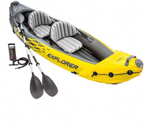 Intex Explorer K2 Kayak, 2 Person Inflatable Kayak Set with Aluminium Oars and High Output Air Pump