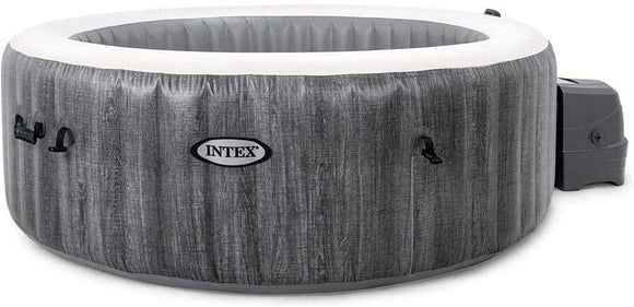 Intex PureSpa Greywood Deluxe Inflatable 4 Person Hot Tub Spa - Includes 2 x Headrests - Drinks Holder and and Chlorine Starter Kit