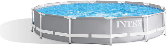 Intex Prism Premium 12ft x 30in Metal Frame Swimming Pool, Blue, 366 x 76 cm with Filter and Pump