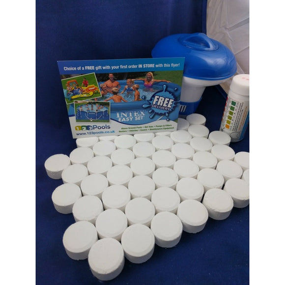 Premier Blue Chlorine Tablets with Dispenser and Testing Kit