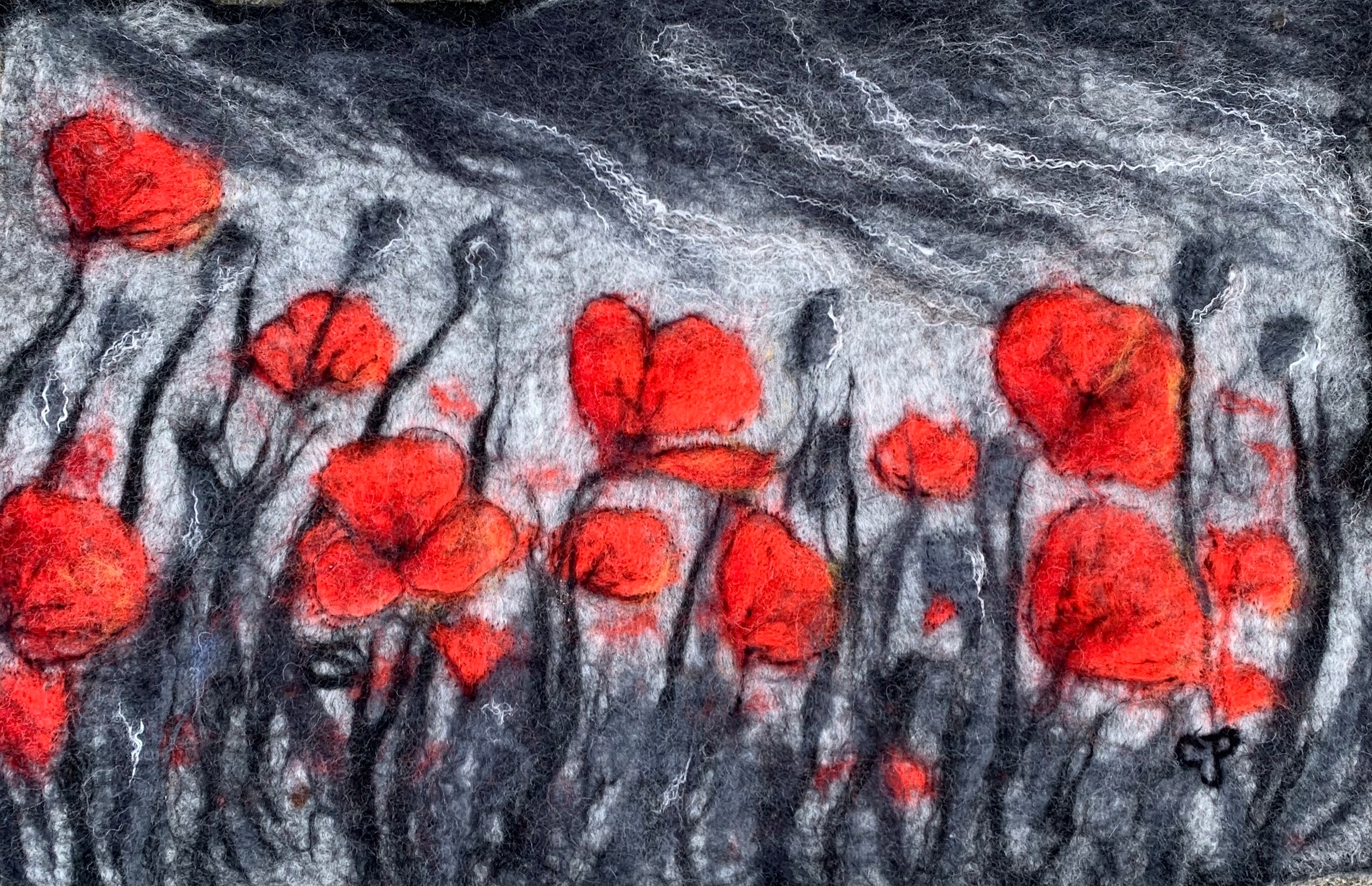 The Poppies Blow - Wet-Felted Wool Wall Art