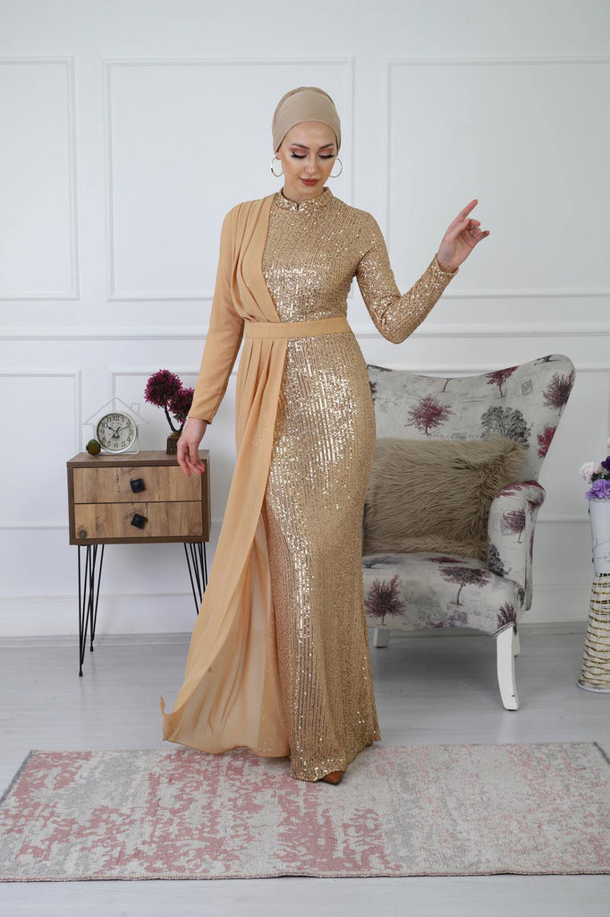Madelyn Sequinned Gold Evening Dress - Croyance London