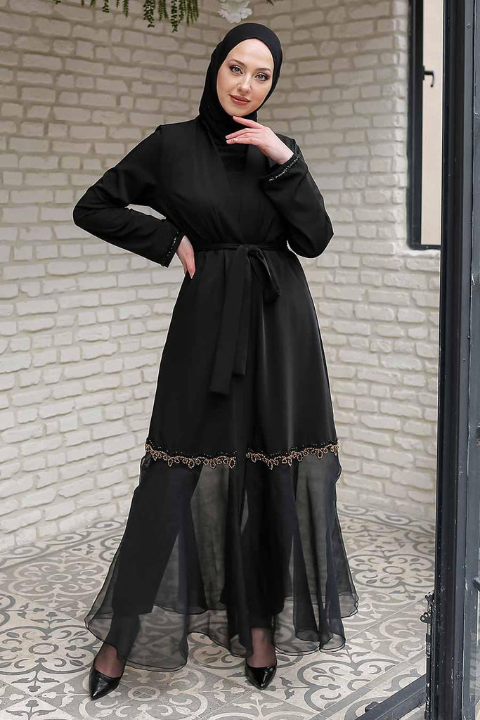 This unique full-length kimono is Elegant and Sophisticated. Open style kimono abaya with sequin embroidery done on the flare with a sheer fabric patterned along with a belt which can be worn as a cardigan. Flaunt it on a long plain dress or a top with trousers for an effortlessly pulled-together stylish look.