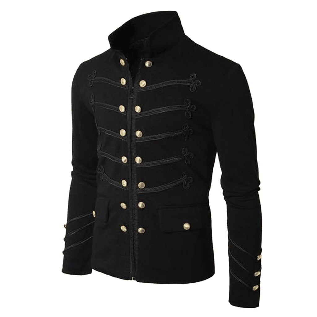 Steampunk Men Vintage Jacket Stand Collar Single Breasted Gothic Jackets Handmade Punk Men Outerwear Tailor Made Blazers