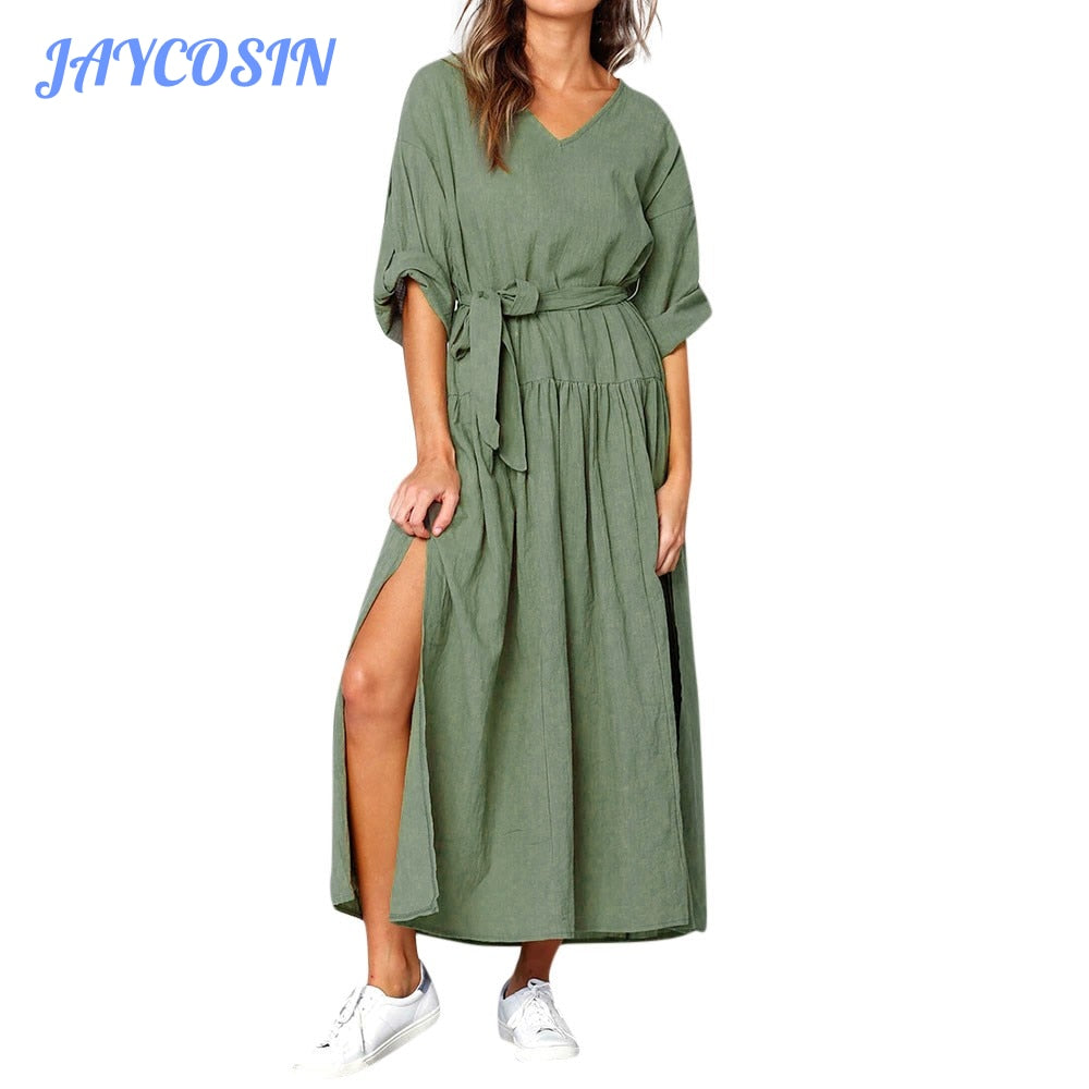 JAYCOSIN Clothes Women Sexy V-Neck Loose Long Dress  Fashion Solid Color Long Sleeve Summer