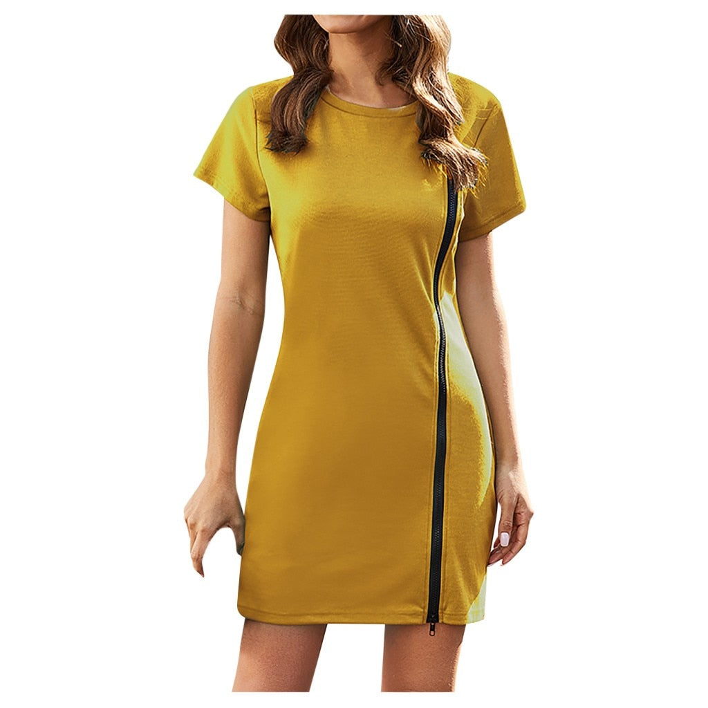 Women Sexy Short Sleeve O Neck Solid Zip up Dress Mini Dress Elegant V-Neck Ruffles Chiffon Formal Evening Gown Party Dress