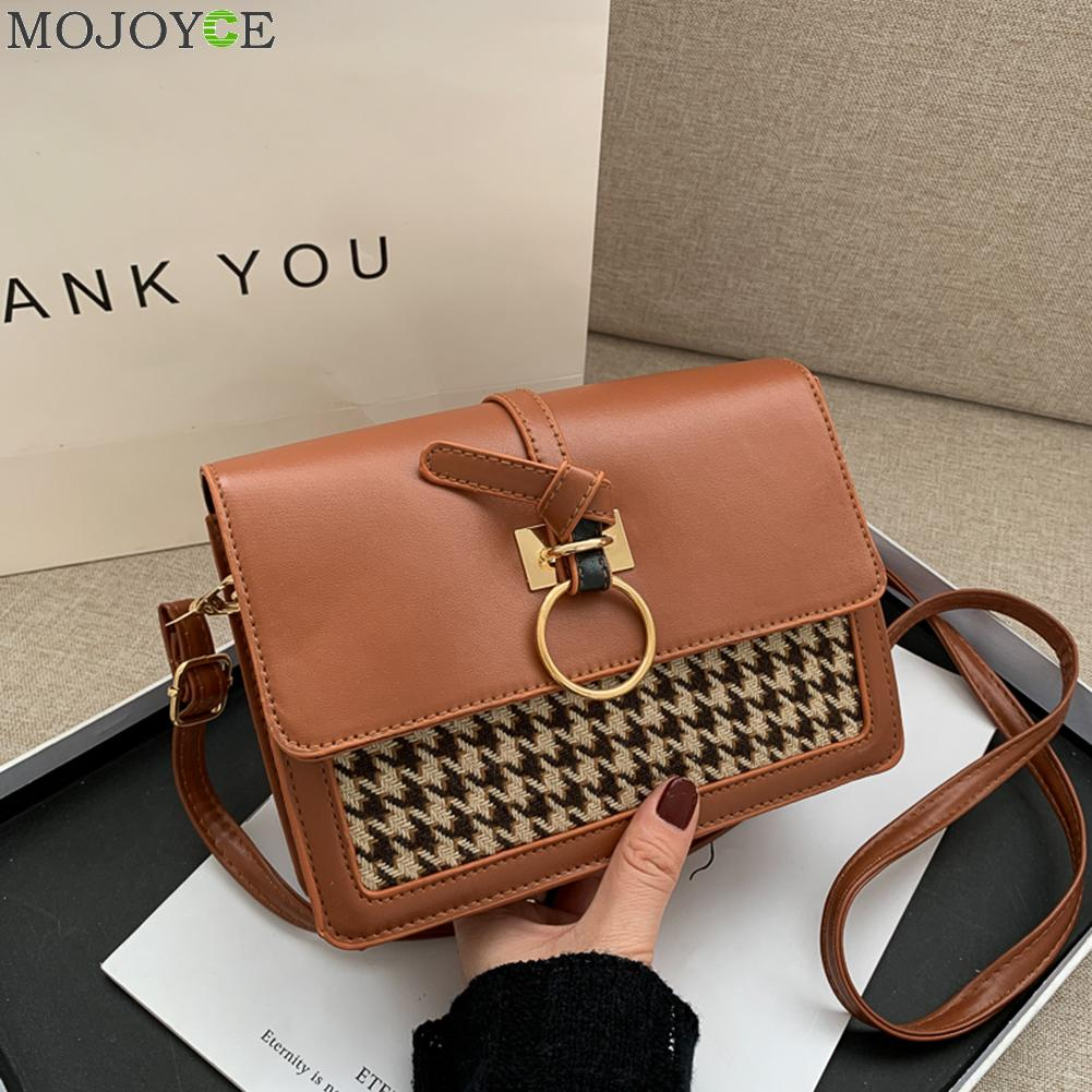 PU Leather Crossbody Bags Small Houndstooth Summer Lady Shoulder Handbags Female Simple Totes for Women