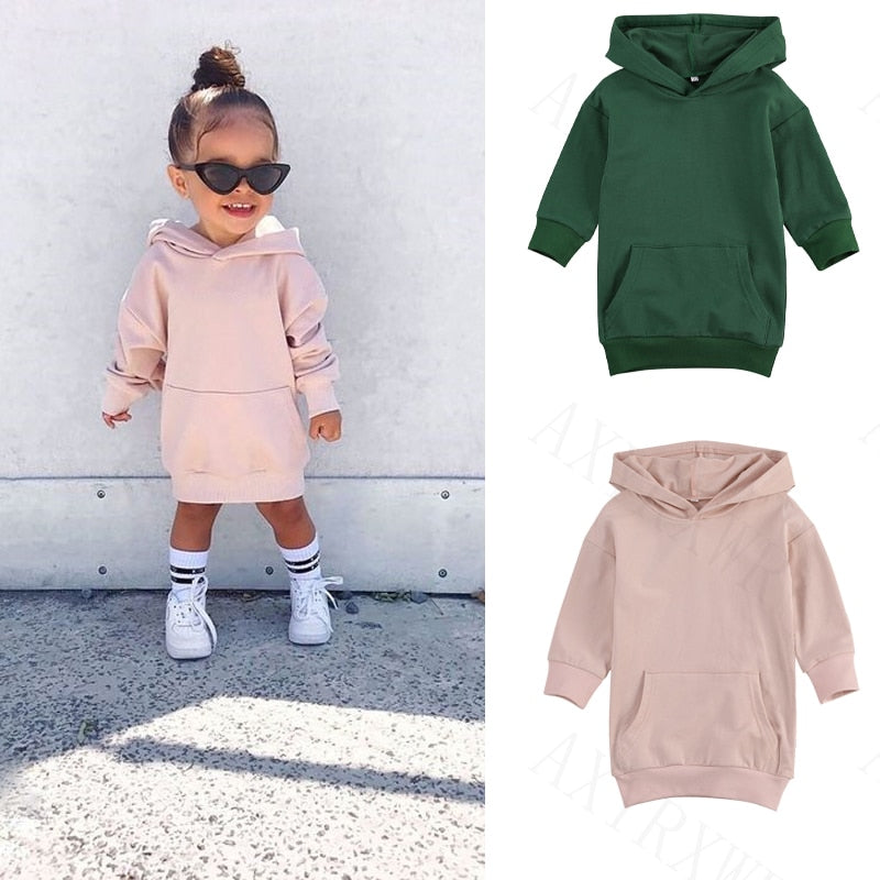 lioraitiin 1-5Years Infant Kids Baby Girl Long Sleeve Sweater Dress Solid Color Hooded Pullover Dress Winter Warm Top