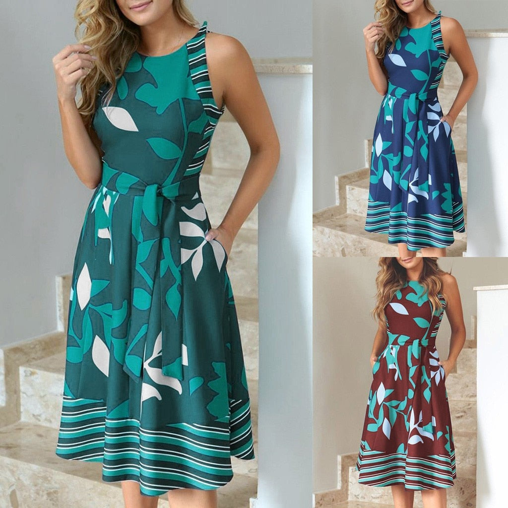Dress Women  Summer Casual Round Neck Sleeveless Leaf Print Splice Sashes Big Swing Dress With Belt Dress