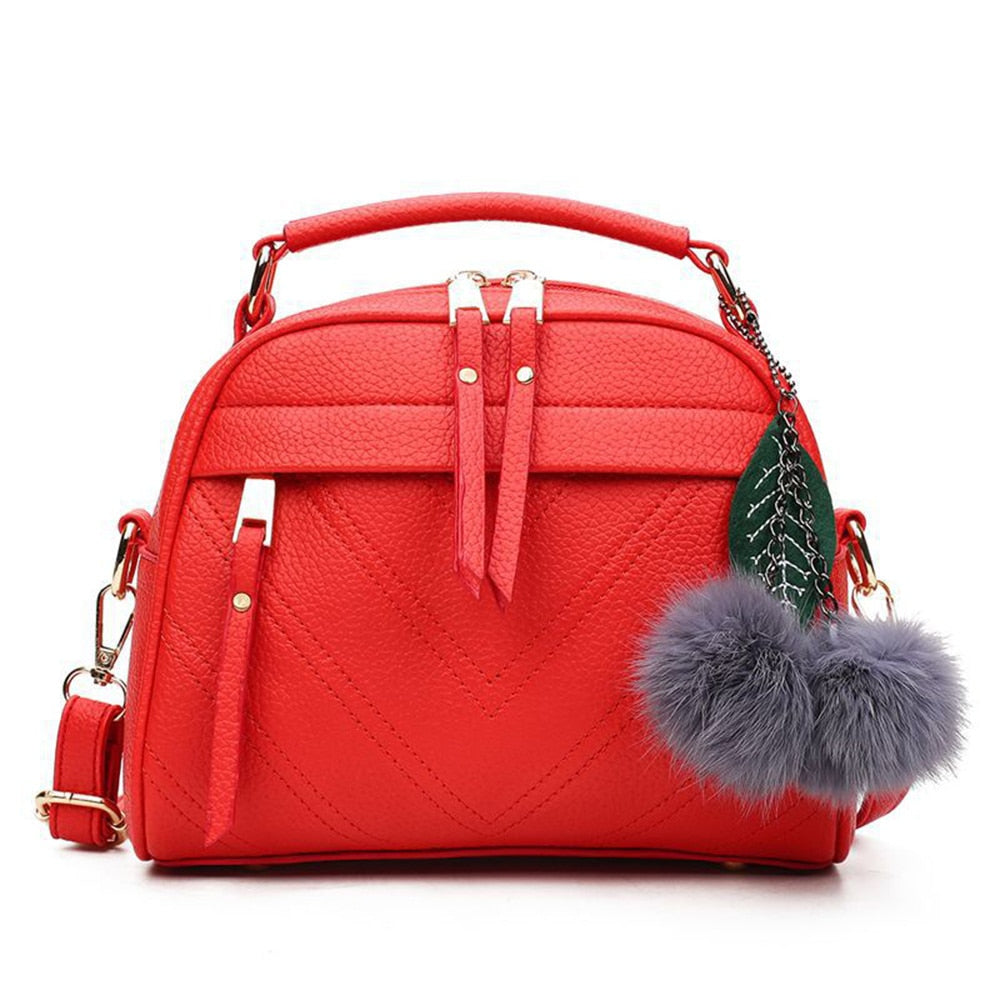 Small Tassel Messenger Bags With Ball Bolsa Women Fashion PU Leather Handbag For Female Shoulder Bags Ladies Party Crossbody Bag