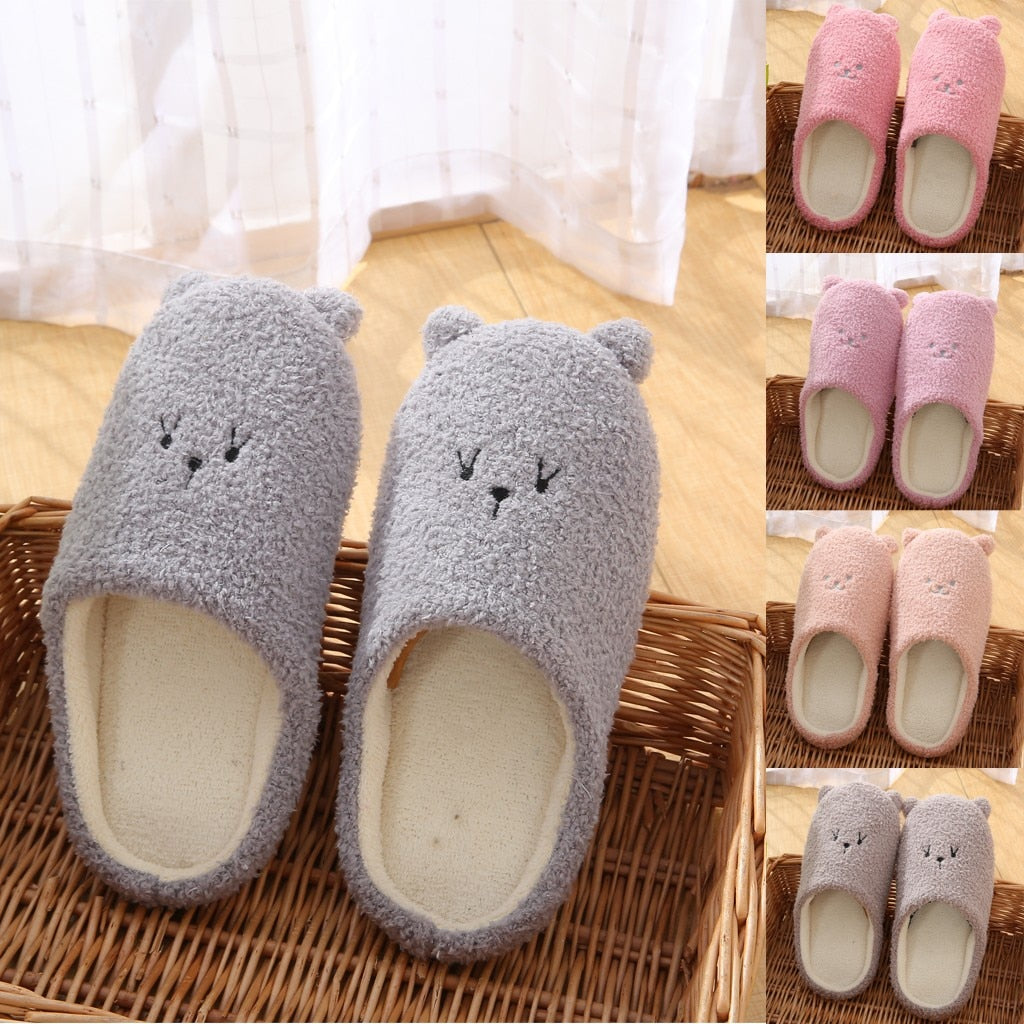 Slippers Women Shoes House Slippers Slip-on Anti-skid Bear Indoor Casual Shoes Snow Slippers