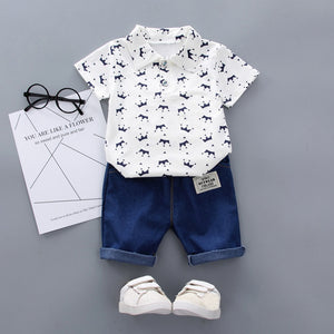 Crown Pattern Shirt Tops+ Denim Pants Set Toddler Kids Baby Boy Short Sleeve Personality Handsome Jongens Kleding Fashion Suit