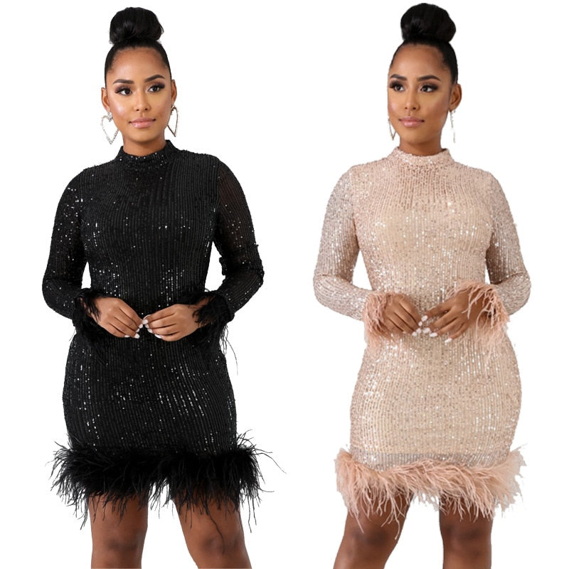 Sexy Sequin Turtleneck Dress Women Bodycon Shiny Plus Size Evening Party Dresses Vintage Slim Long Sleeve Gatsby Dress
