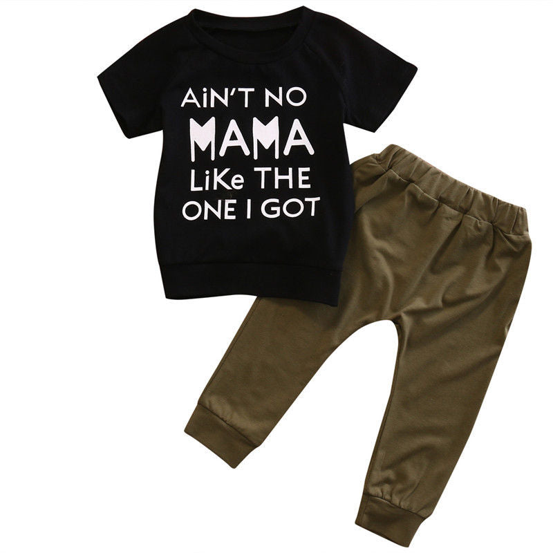 0-24M Newborn Baby Boys Short Sleeve T-shirt Long Pants Legging Casual 2Pcs Outfit Clothes